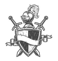 Vintage medieval knight emblem vector