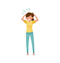 Woman character having headache as symptom of vector