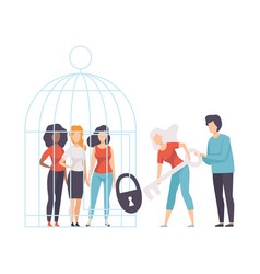Women opening cage with young women who sitting vector