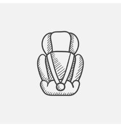 Baby car seat sketch icon vector image vector image