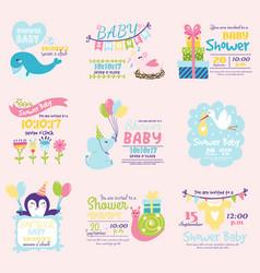 baby shower invitation decoration celebration vector image