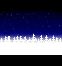 Christmas tree snow dark blue sky vector image vector image