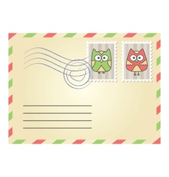 envelope with postage stamps vector image