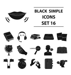 interpreter and translator set icons in black vector image
