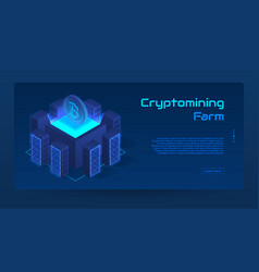 isometric cryptomining farm concept banner vector image