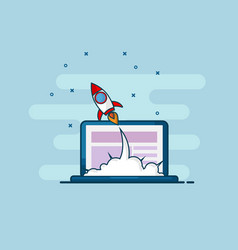 rocket startup launch from laptop flat line design vector image vector image