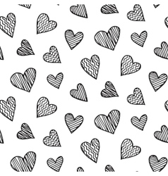 Romantic seamless pattern with heart doodles vector image
