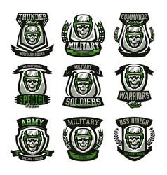 set of military logos emblems skull helmet vector image