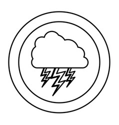 silhouette cloud with ray icon vector image