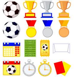 soccer football game cartoon icon 16 element set vector image vector image