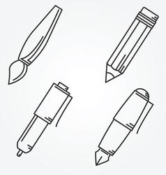 Writing tools pencil pen fountain pen brush ballpo vector