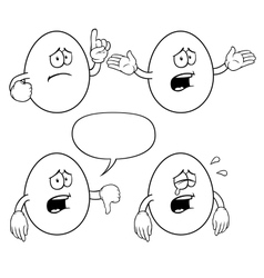 Black and white crying egg set vector image