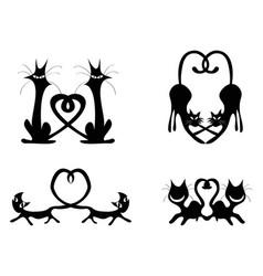black love heart cat couples set vector image vector image