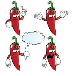 Bored chili pepper set vector image vector image