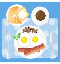 Breakfast poster fried eggs bacon mushrooms vector