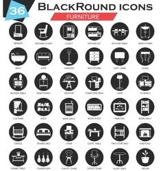 Furniture circle white black icon set vector image vector image