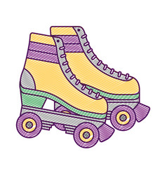 Retro roller skates wheels trendy vintage vector