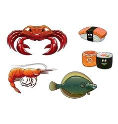 Seafood cartoon characters vector image