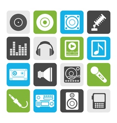 Flat Music and sound icons vector image vector image