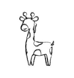 giraffe cartoon animal childish faceless vector image