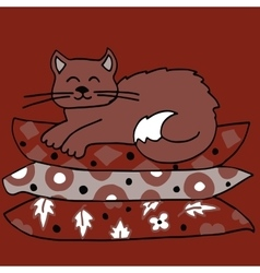 High quality of cat on pillows vector image vector image