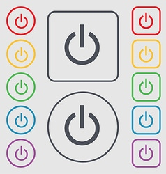 Power icon sign symbol on the Round and square vector image