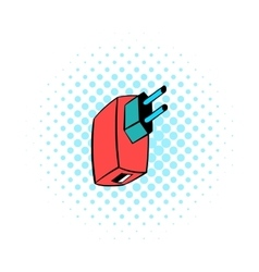 Electric power adapter icon comics style vector