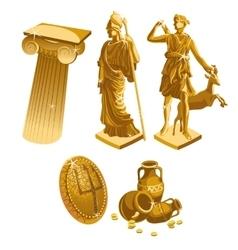 Greek Golden statues column shield and jugs vector image