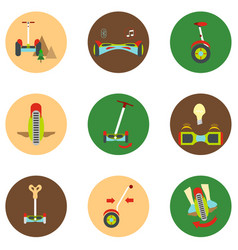 Gyroscope icons in a flat style on a color vector