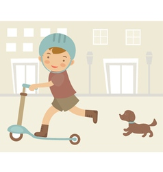 Little boy on scooter vector image vector image