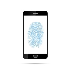 Realistic black smartphone with Imprint of the vector image vector image