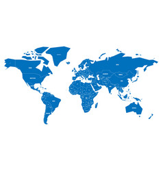 simplified map of world in blue schematic vector image vector image