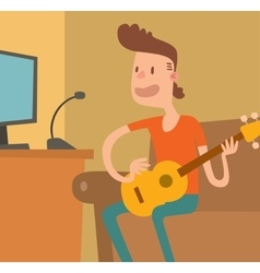 Young musician plays on the electric guitar vector image vector image