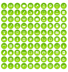 100 work icons set green circle vector
