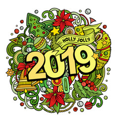 2019 doodles new year objects and vector image
