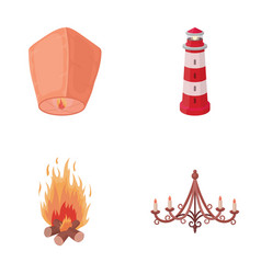 A light lantern a lighthouse a fire a vector