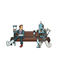 a robot and a man with broken legs with crutches vector image
