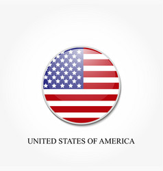 american flag in a circle on a white gray vector image