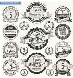 Anniversary retro badges collection 5 years vector