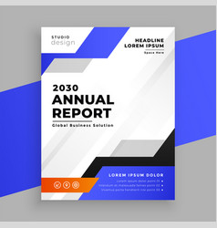 annual report blue business brochure template vector image