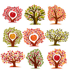 art drawn trees with ripe apples and beautiful vector image