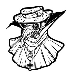 Art with plague doctor poster vector