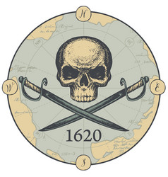 Banner with human skull swords and old map vector