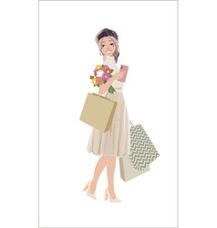 Beautiful woman go shopping with bags and feeling vector