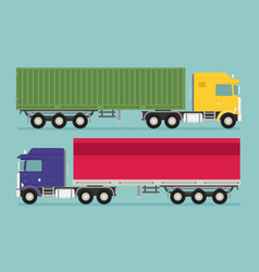 Big semi truck set flat trendy vector