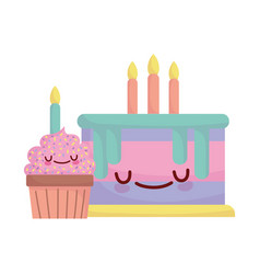 Birthday cake and cupcake with candles menu vector