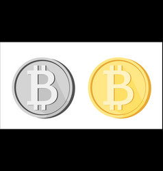 bitcoin btc icons greyscale golden yellow isolated vector image