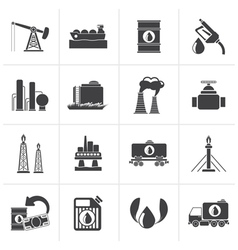 Black Petrol and oil industry icons vector image