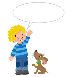 Boy and puppyn with balloon for text vector