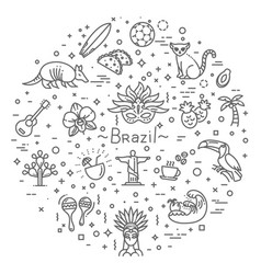 Brazil icon set flat design vector